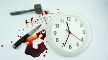Blood Message Help, White Clock On White Background, Concept Halloween Night, Blank For Design.Top View Blank For Design.
