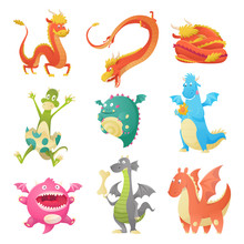 Dragon Cartoon Vector Cute Dragonfly Dino Character Baby Dinosaur For Kids Fairytale Dino Illustration Isolated On White Background.