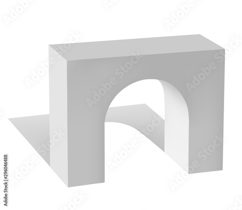 Photo White vector arch with shadow on white background