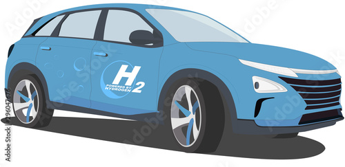 Fotomural  Hydrogen car (Sport utility vehicle - suv) - Fuel cell vehicle - hydrogen-powere