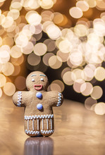 Gingerbread Man On A Christmas Background.