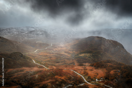 Foto auf AluDibond Rosa dunkel Landscape of mountains in late autumn