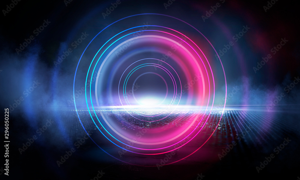 Fototapety, obrazy: Neon circle on the background of a dark old brick wall, street, wet asphalt. Blue and pink neon, smoke, smog. Night view of the street with neon. Abstract neon dark background.