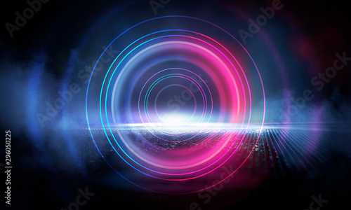 Foto auf AluDibond Spirale Neon circle on the background of a dark old brick wall, street, wet asphalt. Blue and pink neon, smoke, smog. Night view of the street with neon. Abstract neon dark background.