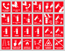 Set Of Fire Safety Signs. Coll...