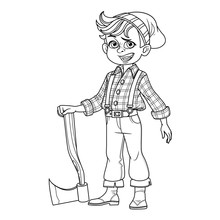 Cute Boy In A Lumberjack Suit With An Ax Outlined For Coloring Page
