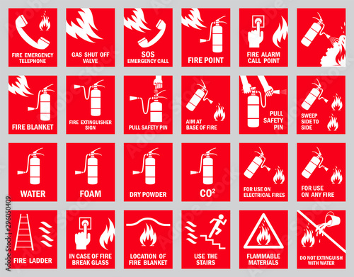 Set of fire safety signs. Collection of warning signs. Vector illustration. Signs of danger. Signs of alerts. Fire icons. Wall mural