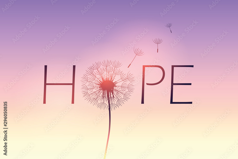 hope typography with dandelion on purple sky background vector illustration EPS10