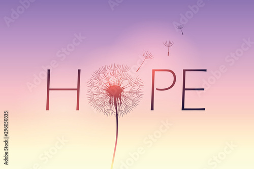 Valokuvatapetti hope typography with dandelion on purple sky background vector illustration EPS1