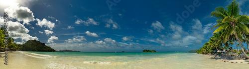Foto auf Gartenposter Blaue Nacht praslin island seychelles paradise beach panorama anse volbert