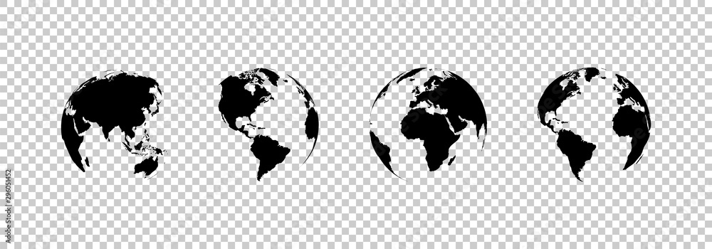 Fototapeta earth globe collection. set of black earth globes, isolated on transparent background. four world map icons in flat design. earth globe in modern simple style. world maps for web design. vector