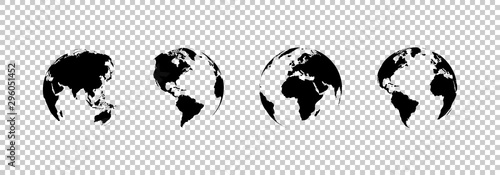 earth globe collection. set of black earth globes, isolated on transparent background. four world map icons in flat design. earth globe in modern simple style. world maps for web design. vector #296051452