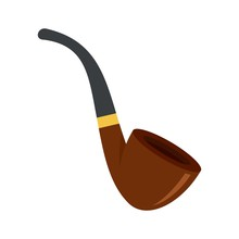Smoking Pipe Icon. Flat Illustration Of Smoking Pipe Vector Icon For Web Design
