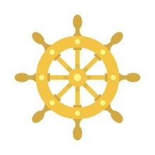 Ship Wheel Icon. Flat Illustra...