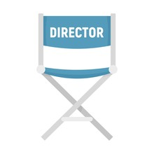 Film Director Chair Icon. Flat Illustration Of Film Director Chair Vector Icon For Web Design