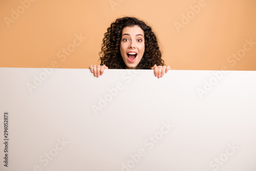 Photo of amazing lady indicating holding arms big white placard presenting novel Billede på lærred