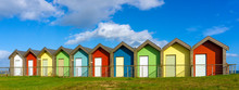 The Beach Huts At Blyth Beach In Northumberland
