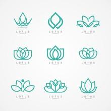 Linear Lotus Icon. Lotus Logo Vector Template Set Design
