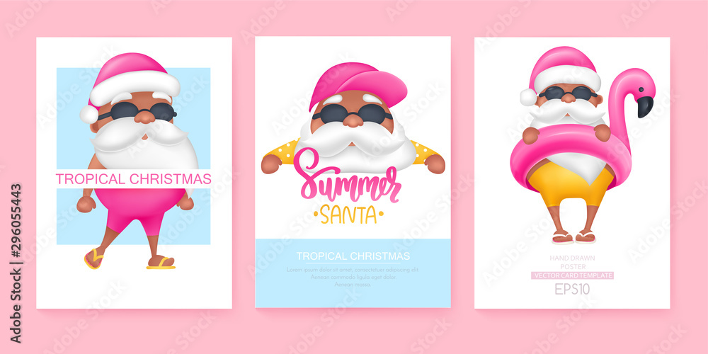 Fototapety, obrazy: Summer Santa's greeting cards. Vector illustration. Tropical Christmas and Happy New Year in a warm climate design.