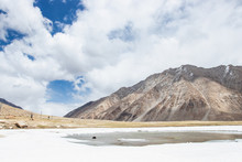 LEH LADAKH, INDIA - JUN19, 2018: Tourist Travel To Play Himalayan Snow Mountains In Leh Ladakh, India