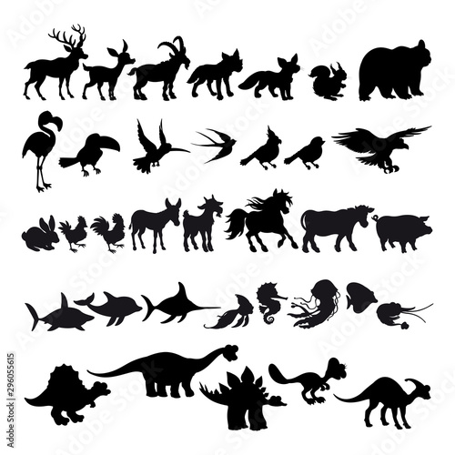 Poster Kinderkamer Silhouettes of cartoon animals