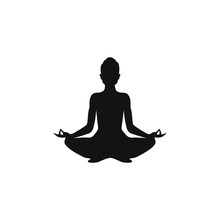 Yoga. Lotus Position Silhouette. Vector Sign Illustration