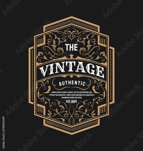 Vintage label typography retro poster design vector