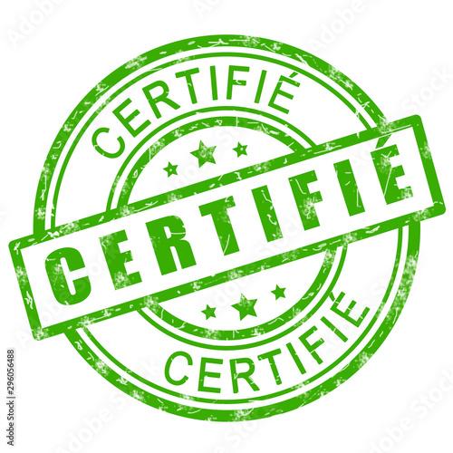 Fototapeta Tampon certifié. Tampon vert certifié icône illustration.