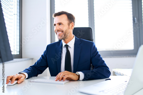 Smiling businessman sitting in front of office computer and working