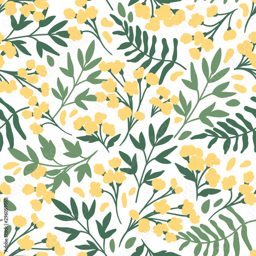 Vector Floral seamless pattern. Flowers and leaves.