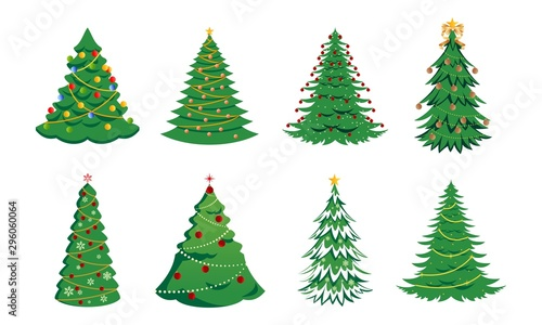 Leinwand Poster Set of christmas tree silhouette with decorations, vector illustration isolated on white background, template for design, greeting card, invitation