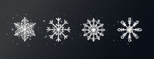 Silver Glitter Snowflakes Set On Transparent Background. Shining Christmas Design With Sparkles And Stars. Winter Holiday Luxury Decoration For Cards, Invitation, Poster, Banner. Vector Illustration