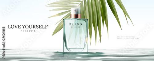 Pinturas sobre lienzo  Elegant perfume glass bottle ads