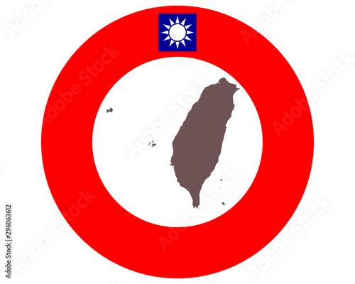 Fotografía  Landkarte von Taiwan auf Hintergrund mit Fahne