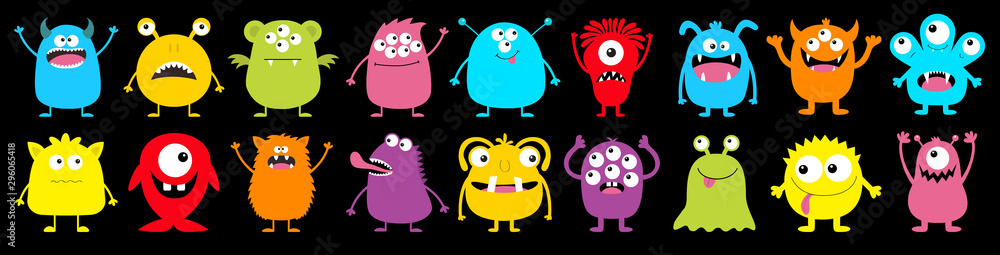 Happy Halloween. Monster colorful round silhouette icon super big set line. Cute cartoon kawaii scary funny baby character. Eyes, tongue, tooth fang, hands up. Black background. Flat design. <span>plik: #296065418 | autor: worldofvector</span>