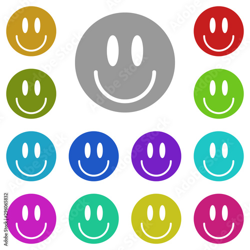positive smile multi color icon. Simple glyph, flat vector of universal icons for UI and UX, website or mobile application