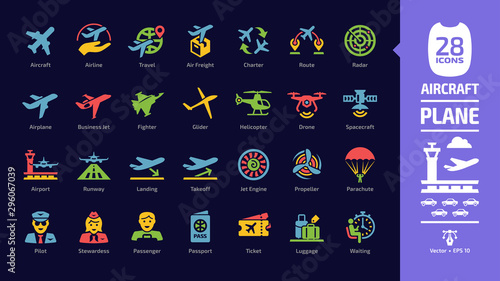 Photo Aircraft color icon set in dark mode with flight plane glyph symbols: airplane, business jet, airport, fly aeroplane, commercial aviation, travel air, military fighter, airline, cargo aero transport