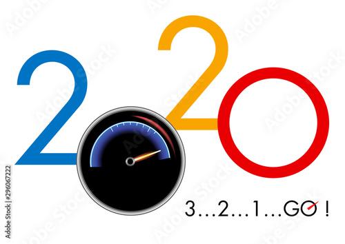 Concept de carte de vœux 2020 montrant la puissance et la vitesse en prenant pour symbole un compte tour de voiture de course et un compte à rebours Canvas Print