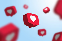 Red Social Media Notification Like Icon Falling . Follow, Comment, Like Icon. - 3D Rendering