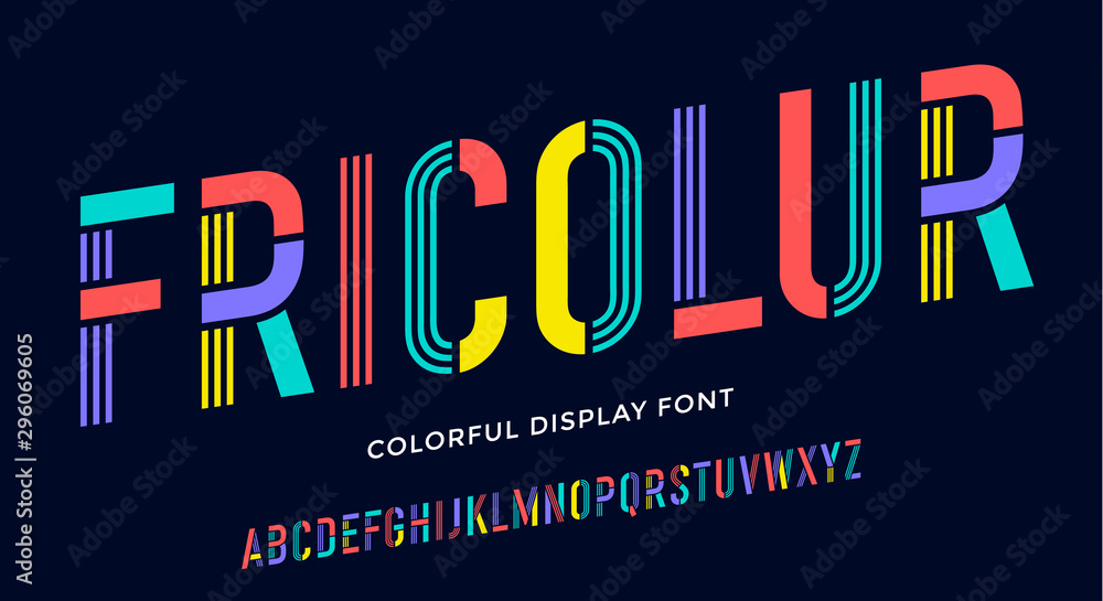 Fototapeta Stencil font. Colorful condensed alphabet and line font