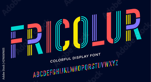 Stencil font. Colorful condensed alphabet and line font