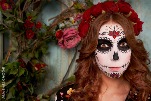 Day of dead holiday. Halloween. People in costume