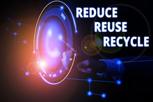 Handwriting Text Reduce Reuse Recycle. Conceptual Photo Environmentallyresponsible Consumer Behavior Lady Presenting Hand Blue Glow Futuristic Modern Technology Tech Look Contact