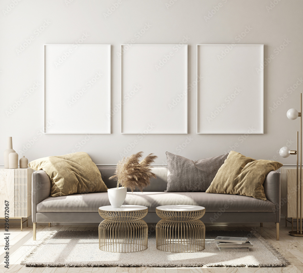 Fototapety, obrazy: mock up poster frame in modern interior background, living room, Scandinavian style, 3D render, 3D illustration