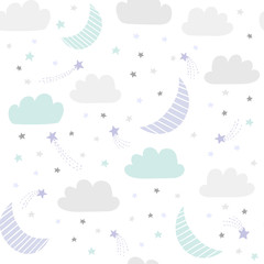 Moon and stars vector pattern. Night sky, cosmos, space seamless background in light pastel colors.