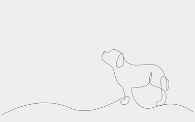 Cute puppy animal silhouette one line drawing, vector illustration