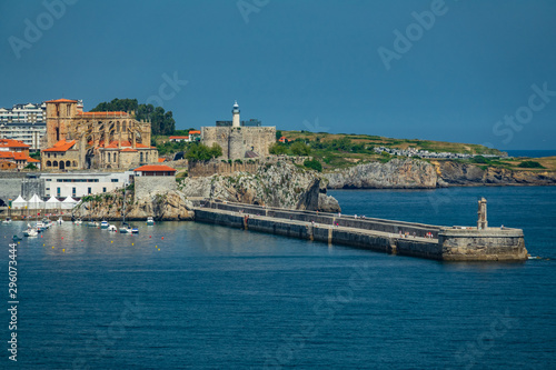 Castro Urdiales breakwater and downtown with cathedral