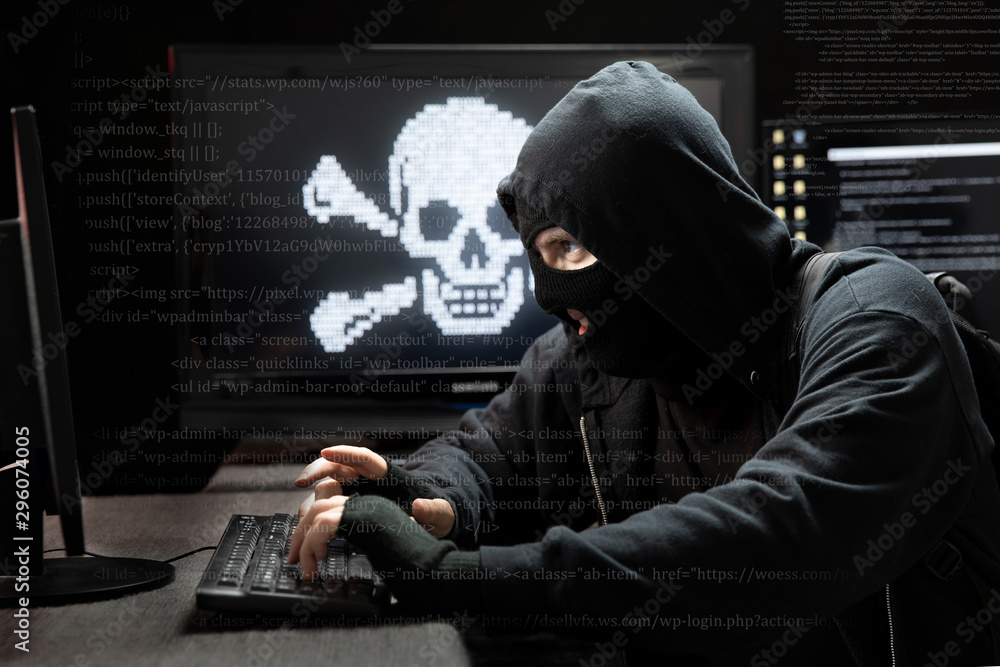 Fototapeta Hacker stealing private data