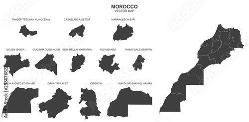 Cuadros en Lienzo political map of Morocco isolated on white background