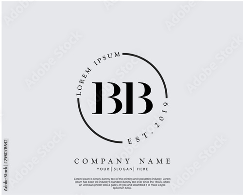 Photo Initial letter BB beauty handwriting logo vector